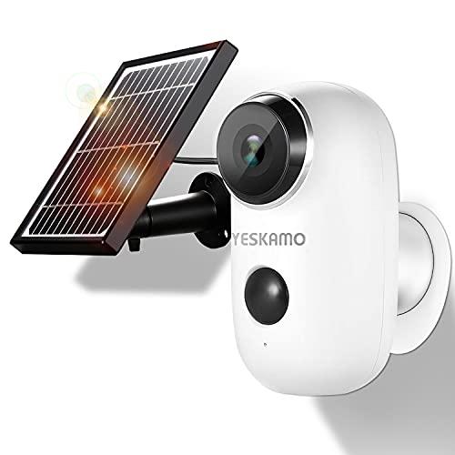 YESKAMO Cámara de Vigilancia WiFi Exterior Full HD 1080P con Batería Recargable Energia Solar...