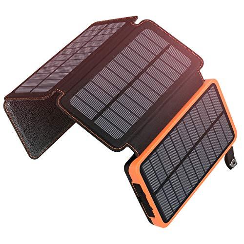A ADDTOP Cargador Solar 25000mAh Power Bank Portátil con 2 Ports 2.1A Output Batería Externa...