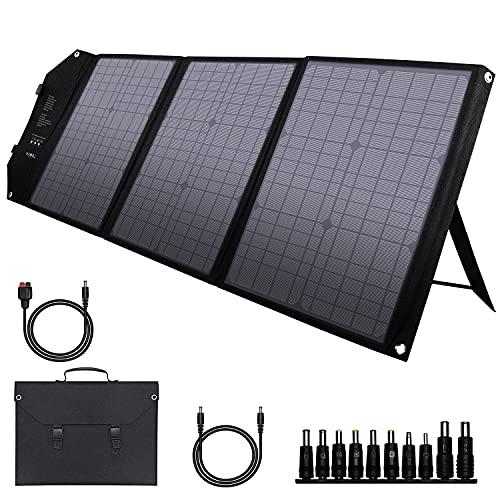 powkey 60W 18V Panel Solar Portátil con USB C, Doble USB QC3.0, Salida de DC, Panel Solar...