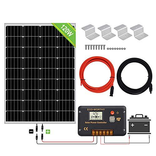 ECO-WORTHY Kit de paneles solares de 120 vatios y 12 vatios: panel solar de 120 vatios y controlador...