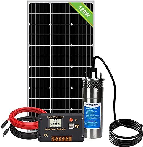 DCHOUSE Kit de bomba de agua , bomba de agua solar de acero inoxidable + panel solar de 120 W +...