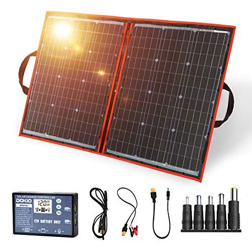 Dokio - Kit de panel solar plegable, ligero, monocristalino con control solar, 2 salidas USB, 100 W,...